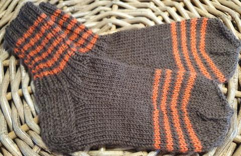 Lasten ruskea oranssi raidalliset villasukat