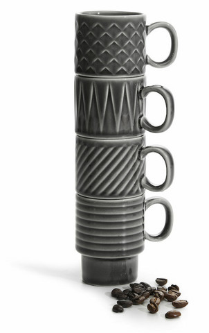 Coffee & More Espressomuki 4 kpl, harmaa