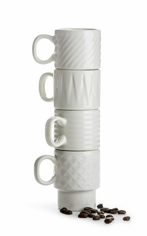 Coffee & More Espressomuki 4 kpl, valkoinen