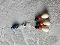 Silmukkamerkkisetti 3+1 : valko-oranssi helmi