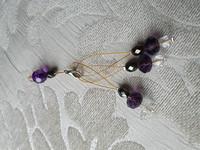 Silmukkamerkkisetti 3+1 : violetti-hopea