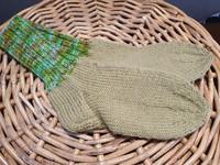 Lasten oliivi kirjavaraitavartiset villasukat