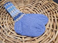 Lasten siniset sini-harmailla raidoilla villasukat koko 20