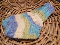 Lasten sini-valko-vihreä raidalliset villasukat koko 19
