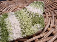 Lasten vihreä-valko kirjavat villasukat koko 18