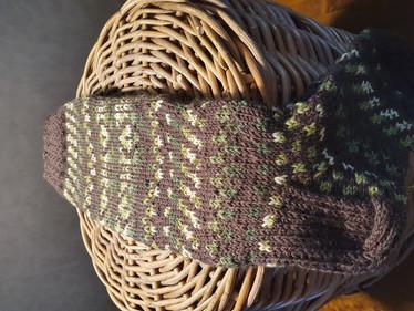 Kätkö ruskea-vihreä kirjoneulesukat Koko 40