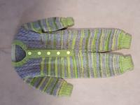 Lapsen limevihreä-harmaa villahaalari 70 cm