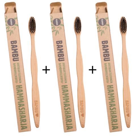 3 kpl:tta bambuhiilikuitu hammasharjoja