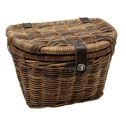 ELECTRA RATTAN FRONT BASKET W/LID, DARK BROWN, LEATHER STRAPS
