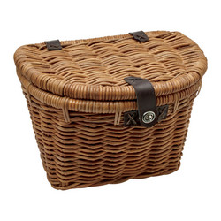 ELECTRA RATTAN FRONT BASKET W/LID, LIGHT BROWN, LEATHER STRAPS