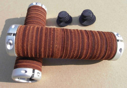 LEATHER DONUT LOCKING GRIPS, BROWN, 125 MM