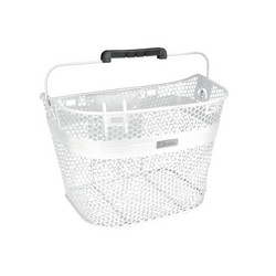 ELECTRA LINEAR STEEL MESH FRONT BASKET WHITE, QUICK LOCK