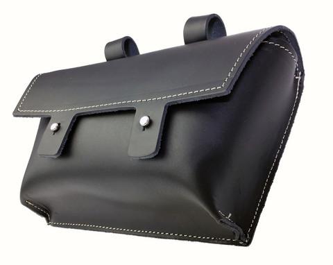HANDLEBAR BAG LEATHER, BLACK