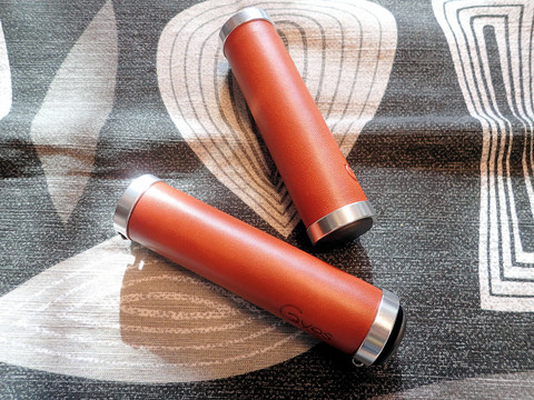 LEATHER DONUT LOCKING GRIPS, LIGHT BROWN 130/130 MM