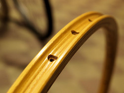WOODEN RIM CB SANREMO 36H CLINCHER HICKORY PAIR W/NIPPLES