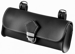 SADDLE BAG, BLACK LEATHER