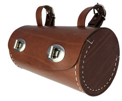 SADDLE BAG, BROWN, BARREL SHAPE