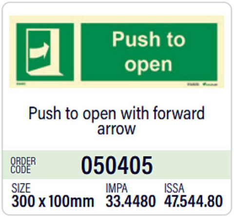 Push to open with forward arrow
