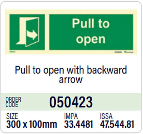 Pull to open with backward arrow