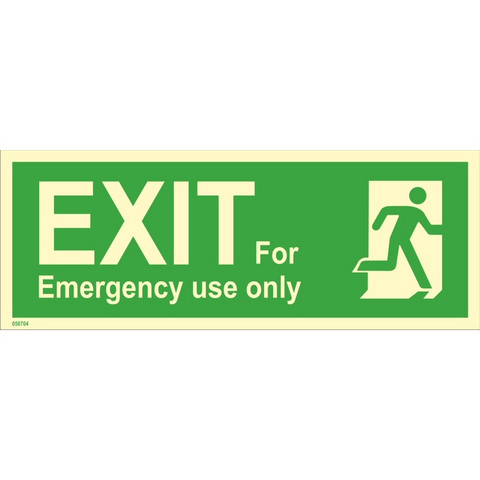 Exit, for emergency use only, right