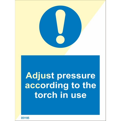 Adjust pressure according to the torch in use