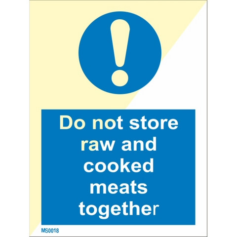Do not store raw and cooked meats together