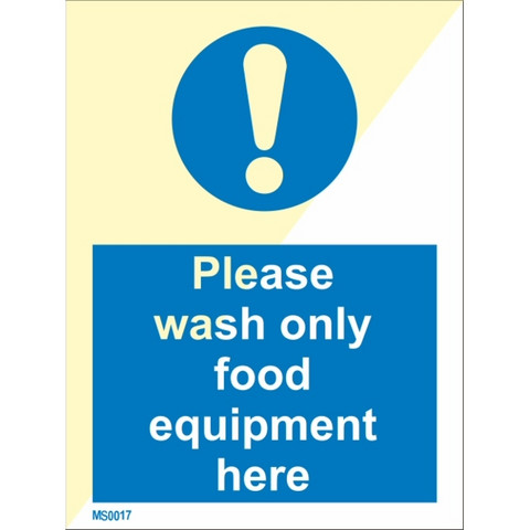 Please wash only food equipment here