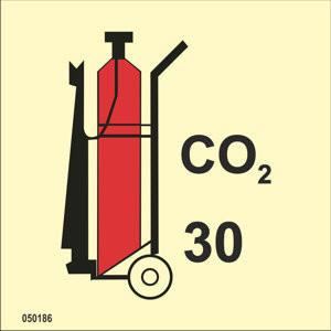 Pyörillä varustettu CO2-sammutin 30kg