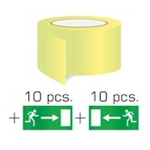 Tavallinen turvateippi erillisillä läpinäkyvillä tarroilla - poistumistiet vasemmalle ja oikealle