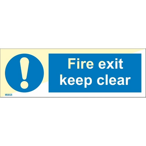 Fire exit keep clear (horizontal)