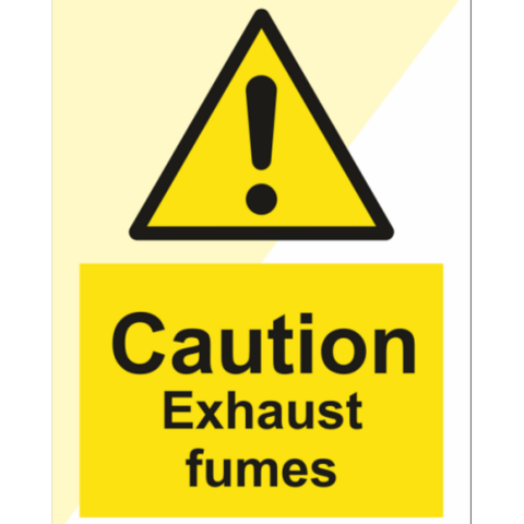 Caution exhaust fumes