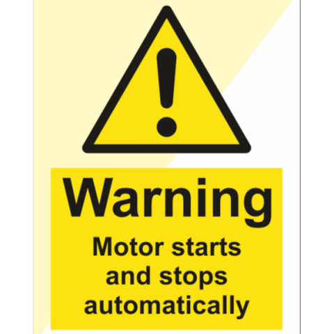 Warning Motor starts and stops automatically