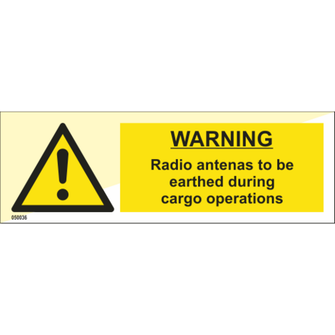 Warning Radio antennas to be earthed during cargo operations