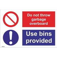 Do not throw garbage overboard. Use bins provided