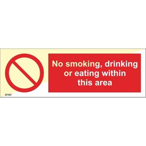 Ei tupakointia, juomista tai syömistä tällä alueella