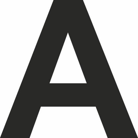 A-kirjain musta 80