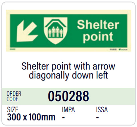 Shelter point with arrow diagonally down left