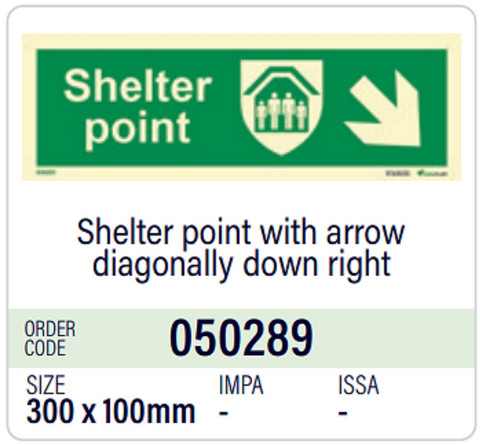 Shelter point with arrow diagonally down right