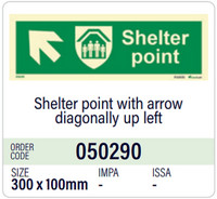 Shelter point with arrow diagonally up left