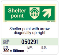 Shelter point with arrow diagonally up right