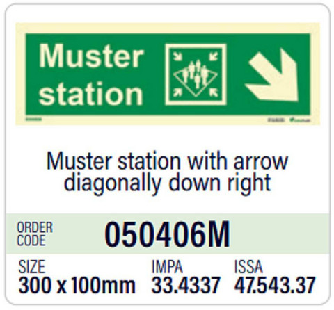 Muster station with arrow diagonally down right