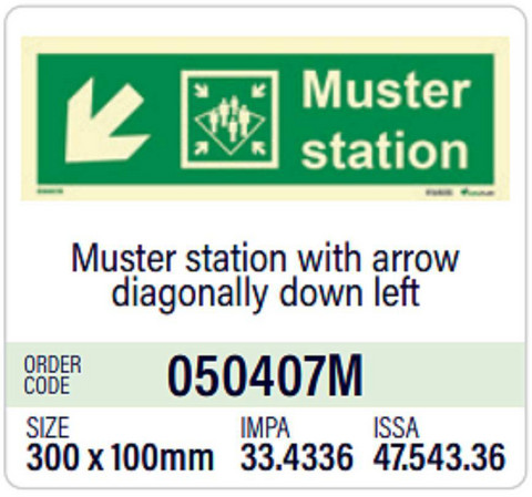 Muster station with arrow diagonally down left