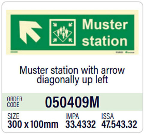 Muster station with arrow diagonally up left