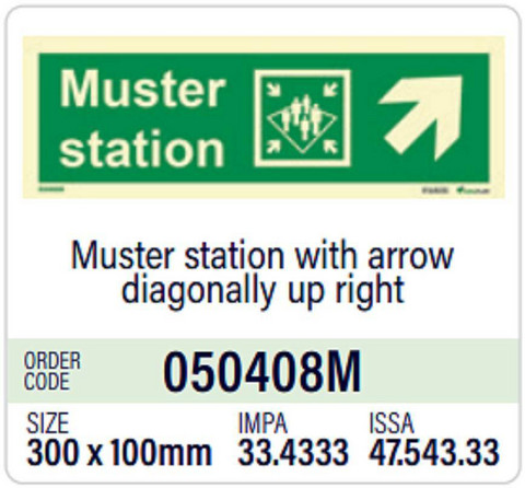 Muster station with arrow diagonally up right