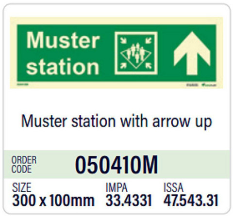 Muster station with arrow up