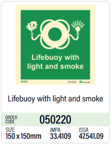 Lifebuoy with light and smoke in store
