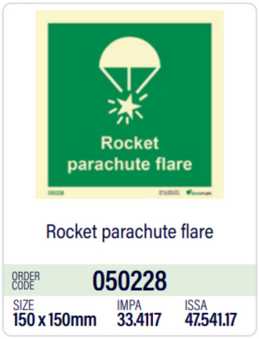 Rocket parachute flares, white sticker from stock