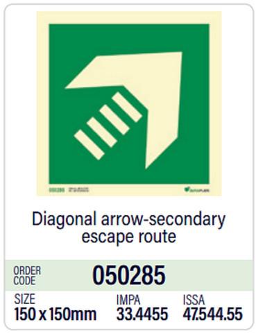 Diagonal arrow-secondary escape route, in stock