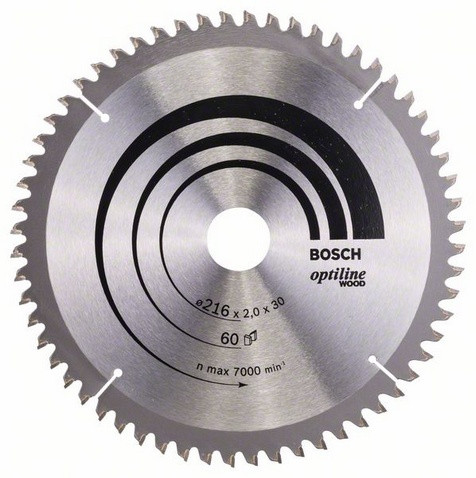 Bosch Pyörösahanterä 216x1,4/2,0x30mm Z60 Optiline Wood 2608640433
