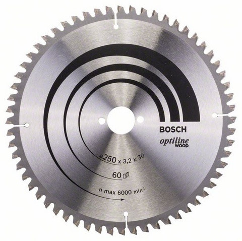 Bosch Pyörösahanterä 250x2,2/3,2x30mm Z60 Optiline Wood 2608640644